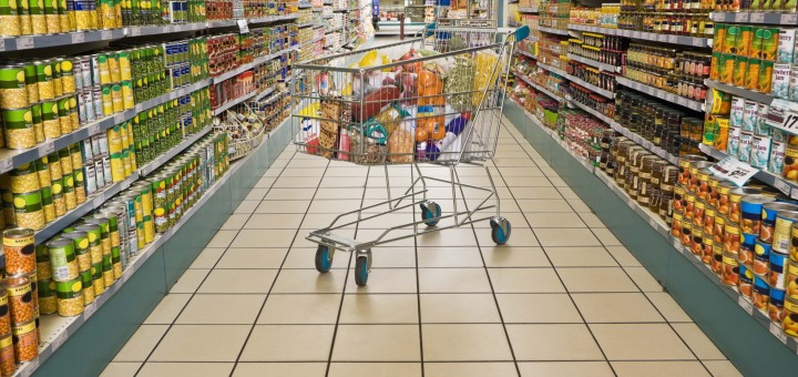 Shopping cart in a grocery store